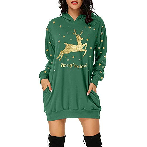 Dicomi Frauen Sweatshirt Mode Weihnachten Hoodie Tasche Hip Pocket Print Hoodie Mode Kleid