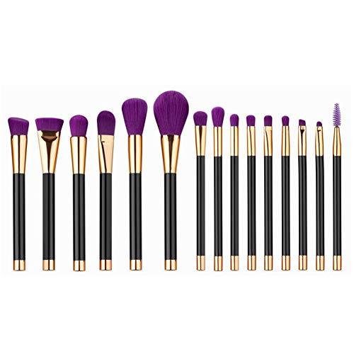 Sets de pinceaux de Maquillage 15 Pinceau de Maquillage Pinceau de Maquillage beauté Outil de Maquillage Pinceau de beauté Portable Pinceau de Maquillage (Color : Black)