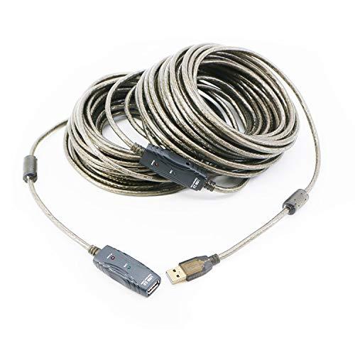 Pasow–Cable de extensión USB 2.0a macho a A hembra cable de repetidor activo USB con amplificador de señal integrado para impresora, teclado, consola de juegos, altavoz, Oculus Rift, escáneres, antena WIFI, 60FT/20M