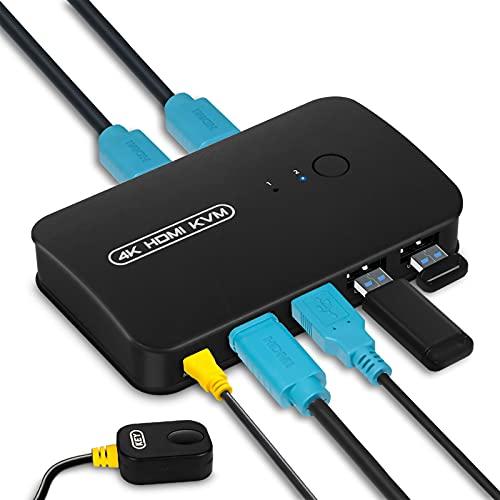 HDMI KVM Switch, Conmutador KVM USB 2.0 para 2 PCs Compartir 1 Monitor y 3 Dispositivos USB, Teclado, Ratón, Impresoras, Escáneres