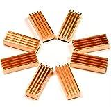 AptoFun Juego de 8 disipadores de calor pasivos (22 x 8 x 5 mm) de cobre para Raspberry Pi, tarjetas gráficas, chip de memoria, chip CPU IC para pegar