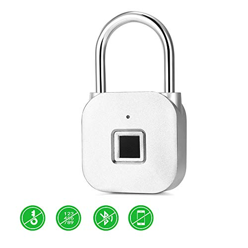 Smart Fingerprint Padlock, IP65 Waterproof Smart Keyless Padlock, Security Biometric Padlock, USB Rechargeable Anti-Theft FingerprintsPadlock,for Locker, Door, Luggage, Suitcase, Wardrobes ##1