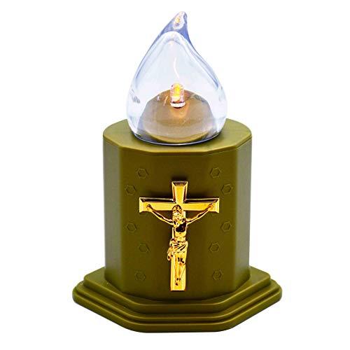 Rabbihom Senza Fiamma Lampada a LED a Candela (lumino) Cimitero Della Chiesa a Croce Verde Resistente Alle Intemperie Utilizzato per 150 Giorni (1 Pz)