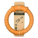 LaRooテディ犬デンタル玩具、小型犬用噛おもちゃ耐久性、ラウンドフリスビー,ストレス解消(中小犬)のペットの知能訓練用、浮遊訓練おもちゃ。(18CM オレンジ色)