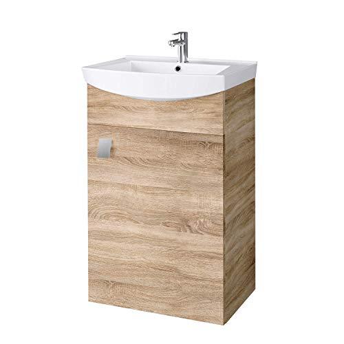 Planetmöbel Waschbecken mit Waschbeckenunterschrank/Waschtisch-Unterschrank 45cm Gäste Bad WC (Sonoma Eiche)