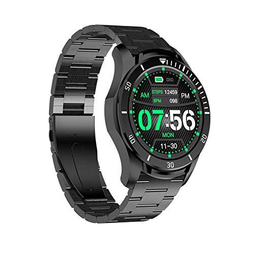 Smart Watch 1 28 pulgadas Super Round Touch Screen Multifuncional Reloj inteligente para movimiento de sueño y podómetro para Android y Ios-Negro y azul-E