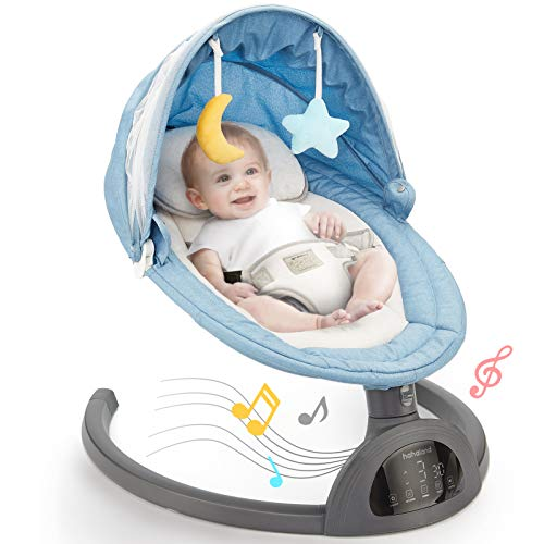 Baby Swing Bluetooth Enabled, Remote Control Baby Swings for Infants with 5 Swing Speeds, LED Touch Screen Baby Swings with 10 Music, 3 Timing Baby Rocker, Detachable Mosquito Net & Hanging Baby Toys