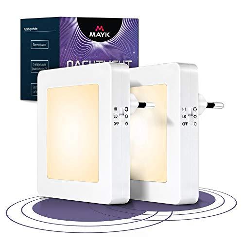 MAYK | Nachtlicht 2 Set - Steckdose mit Dämmerungssensor [2er Set]–Helligkeitsstufen (high/low/off) –Orientierungslicht für Kinderzimmer, Schlafzimmer, Flur
