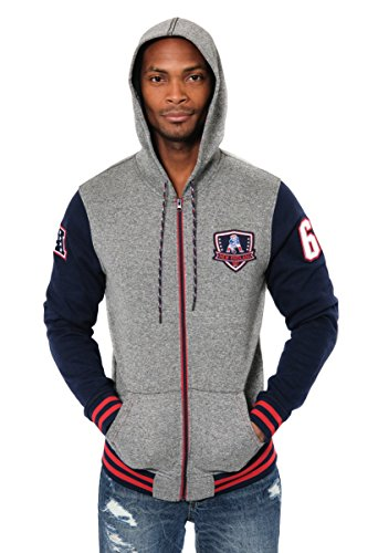 Ultra Game ICER Brands NFL Herren Fleece-Kapuzenpullover Letterman Varsity Jacket, Teamfarbe, Herren, Full Zip Fleece Hoodie Letterman Varsity Jacket, Team Color, Navy, Medium