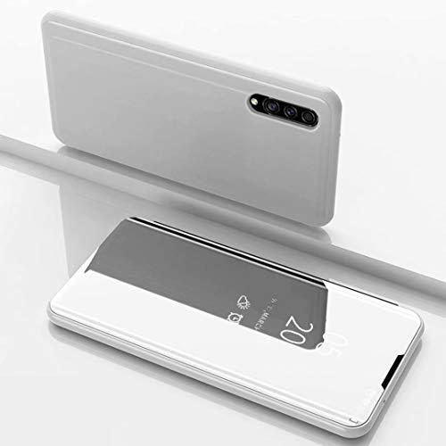 TiHen Spiegel Schutzhülle für Samsung Galaxy A8s Hülle, Smart-Fenstertasche Überzug Spiegel Flip Cover +Panzerglas Schutzfolie 2 Stück,Handyhülle Lederhülle Etui mit Standfunktion -Silber
