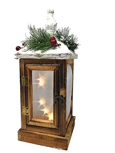 Vetrineinrete® Lanterna Decorativa con luci e porticina in Legno 39 cm a Batteria Cupola con Neve...