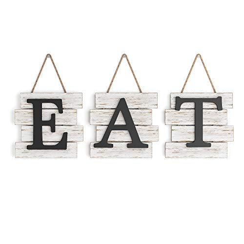 Barnyard Designs Eat Sign Wall Decor, Rustic Farmhouse Decoration for Kitchen and Home, Decorative Hanging Wooden Letters, Country Wall Art, Distressed White/Black, 61cm x 20.50cm