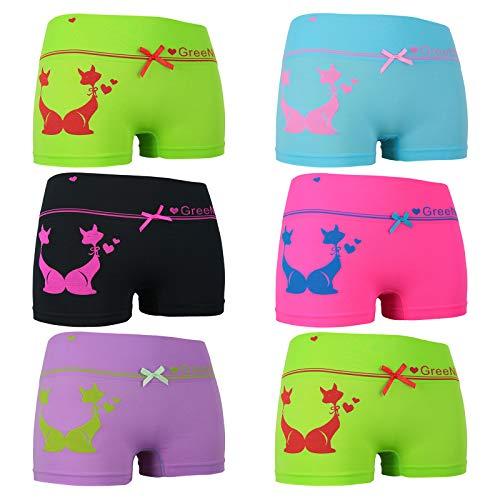 ReKoe 6er Pack Hotpants Unterhose Pants Tanga Panty Unterwäsche Logo Katze Herzen, Größe:L-XL = 40/42