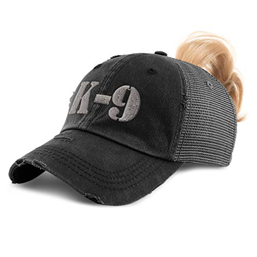 Womens Ponytail Cap K-9 Silver Logo Embroidery Cotton Messy Bun Distressed Trucker Hats Strap Closure Black Design Only