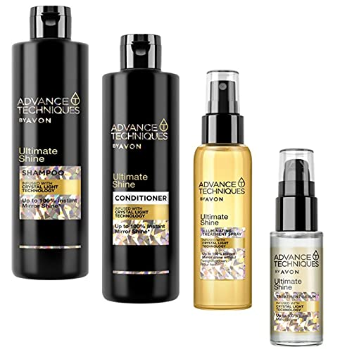 Avon Set Advance Techniques Ultimate Shine Shampoo 400ml + Pflegespülung 250ml + Glanz-Pflegespray 100ml + Haarspitzenfluid 30ml