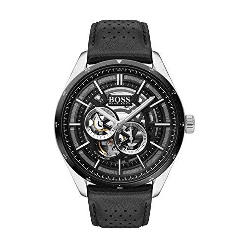 Hugo Boss Herren Multi Dial Automatic Uhr mit Leder Armband 1513748