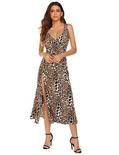 Damas V Vestido de Cuello Alto, Vestido de Leopardo Larga Floja Vestidos asimétricos, Sling Lateral Abierto...