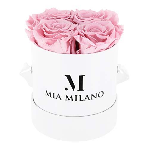 Mia Milano Rosenbox mit 4 haltbaren Infinity Rosen I Ewige konservierte Rosen in Einer Flowerbox I Edle Geschenkbox Handmade in Germany