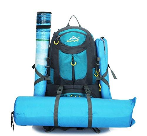 sac à dos d'escalade Hommes de plein air sac à dos de voyage 50L Multifonctionnel Bleu