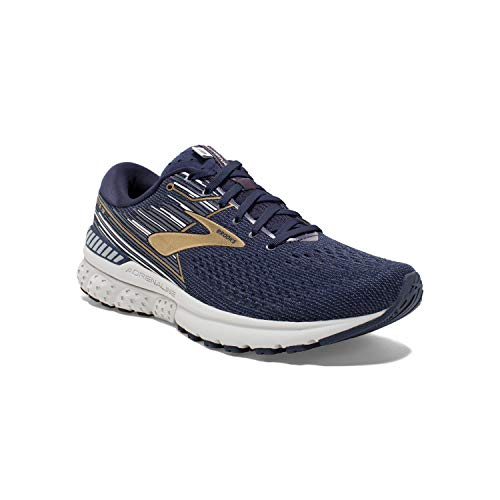 Brooks Mens Adrenaline GTS 19 Running Shoe - Navy/Gold/Grey - D - 10.0