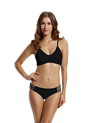 zeraca Women's Strap Side Bottom Halter Racerback Bikini Bathing Suits (L14, Black)