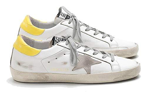 VCEGGDB Zapatillas casuales de los hombres antideslizantes acogedoras GGDB zapatos de cuero baja superior diapositiva, color Amarillo, talla 37 1/3 EU