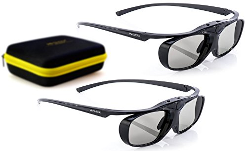 2X Hi-SHOCK RF Pro Black Heaven | 3D Active Glasses for FullHD/HDR / 4k EPSON Projector Powerlite Home Cinema 2000, 2030, 2040, 2045, 3000, 3500, 3600e, 4030UB, 5020, 750HD | Rechargeable