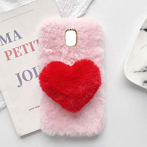 YHY Plush Heart Shaped Style Elegante Funda para Teléfono Móvil para Samsung Galaxy J3 Pro 2017 TPU Silicona Anti Fall Warm Cover Rosa