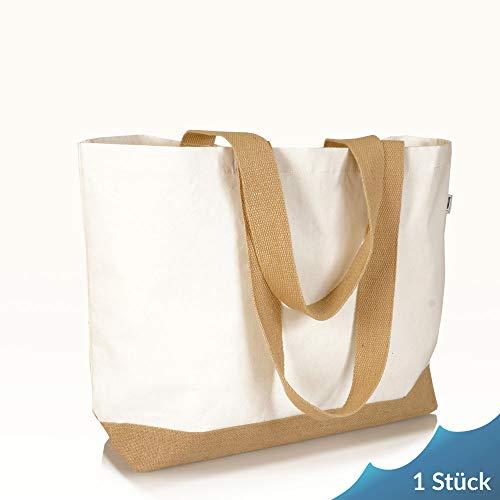 Jute statt Plastik Original | CB220BXF | Einkaufstasche Canvas | Jutetasche Baumwollltasche Shopper Jutebeutel Stofftasche | Fair & Nachhaltig | Shopping Einkauf | braun