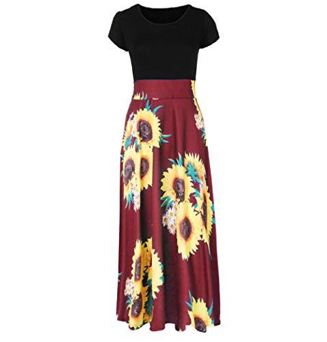 ZYZYY damesjurk mode zomer korte mouwen zonnebloemenpatroon zonnejurk casual swingjurk jurk enkellang