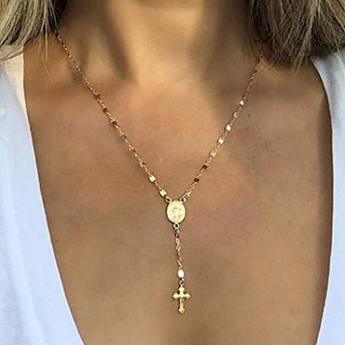Genglass Croix religieuse Y collier or Jésus pendentif collier chaînes bijoux pour femmes et filles