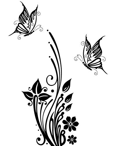 DD Dotzler Design 2111-2 Klebe-Folie | Blumenranke mit 2 Schmetterlingen | Fenster-Bild Aufkleber Wand-Tattoo Glas-Dekorfolie selbstklebend (105x51 cm) schwarz