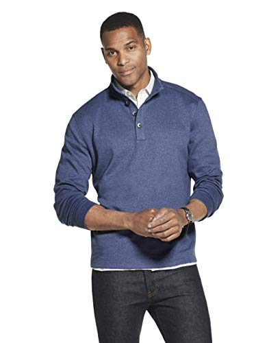 Van Heusen Men's Long Sleeve Never Tuck Jaspe Button Mock Pullover, Blue Barge Solid, Medium