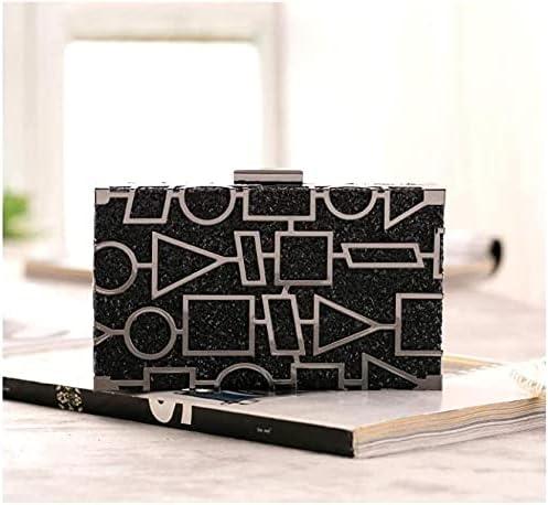 Women's Evening Handbags Sequin Evening Bag, Geometric Pattern, Suitable for Party, Dance Party (Color : Black)