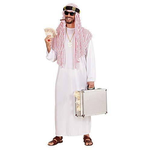 Amakando Arabisches Kostüm Öl-Scheich mit Tunika & Turban / Weiß-Rot M/L (50/52) / Orientalisches Prinzenkostüm Kalif / Bestens geeignet zu Fasching & Karneval