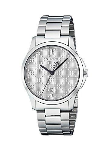 Gucci Unisex Erwachsene Datum klassisch Quarz Uhr mit Edelstahl Armband YA1264024