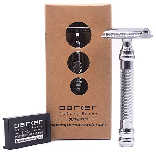 Parker Safety Razor Parker 98R Ultra lourd poids à long manche Rasoir de Sécurité à Double Tranchant et 5 Lames à Double Tranchant Parker
