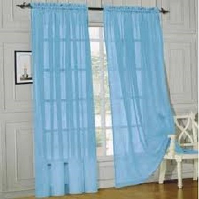 """Gorgeous Home 2PC Light Blue Solid Soft Voile Sheer Window Curtain Panels Drapes 54"""" Wide X 84"""" Long"""