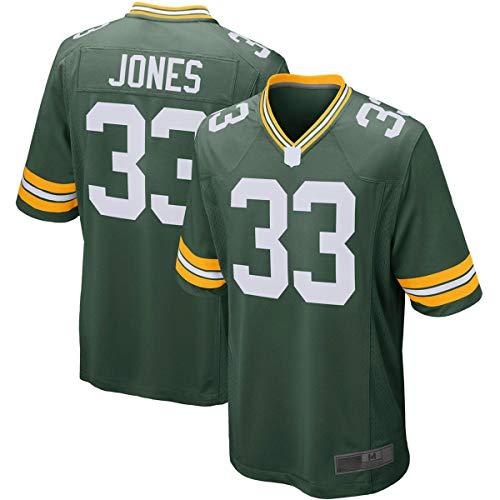 FTING Camisetas al aire libre del fútbol americano Jersey de Aaron Green Bay #33 Verde, Jones Packers Jugador Jersey camisas para hombres