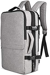 OLUOLIN 20L-30L Expendable Travel Laptop Backpack Airline-Approved Business Carry On Backpack Weekender Bag Fits 15.6 Inch, Grey