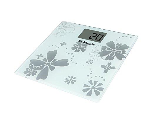 Orbegozo PB 2216 – Báscula de baño, activación táctil, indicador de sobrecarga y batería baja, pantalla LCD, máx. 150 kg, funciona a pilas