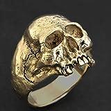 Bague Punk Vintage pour Hommes Gothique Punk Golden Horror Skull Ring Cool Hommes Rock Biker Bijoux Cadeau Taille 6-14
