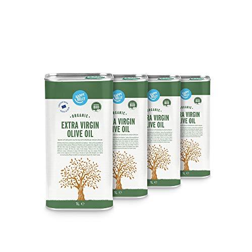 Marchio Amazon - Happy Belly Olio extra vergine di oliva biologico (4 x 1L)