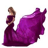 Vestido para Embarazadas de Maternidad Maxi Largo Sin Mangas Color Liso para Fotos (Morado, Talla única)