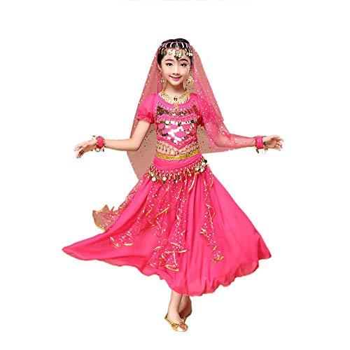 Indische Kleidung Bollywood Orient Kleid Karneval Kostüme Bauchtanz Outfit Kostüm Mädchen Tüll Kleid Ägypten Bauchtänzerin Indien Dance Pailletten Top + Rock 2set kein Schleier dabei Armmanschetten