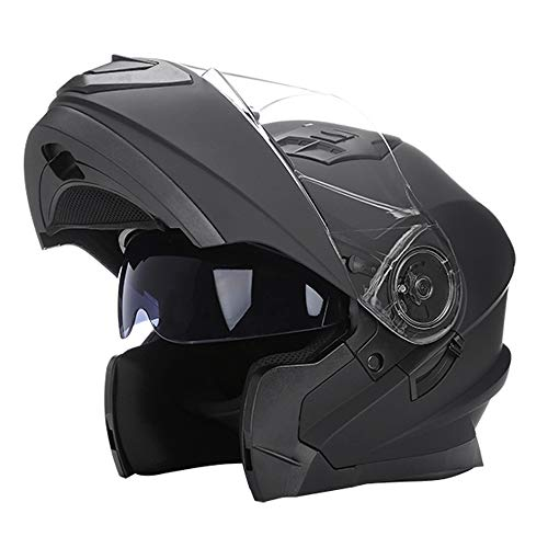 Woljay Flip Up Helmet Motorcycle Full Face Helmets Racing Off Road Street Bike Helmet (L, Matte Black)