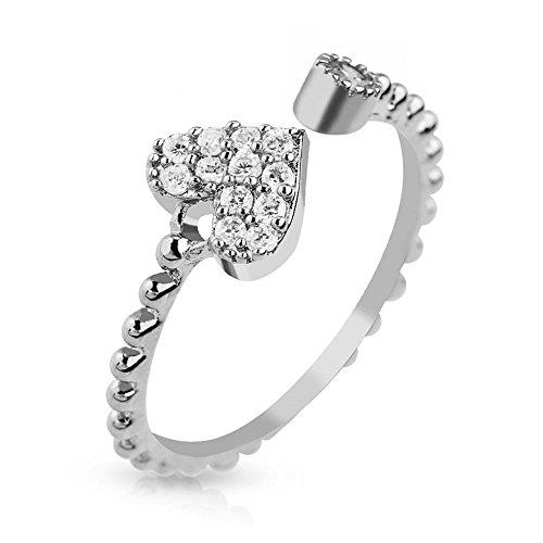 Anillo medio corazón circonios oro cristalino de plata del dedo del pie Zehring ajustables para mujer