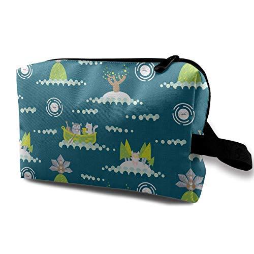 Die Eule Die Muschi Katze Deep Teal Kosmetiktasche Tragbare Entzückende Geräumige Reise Make-up Taschen Bleistift Paket Organizer