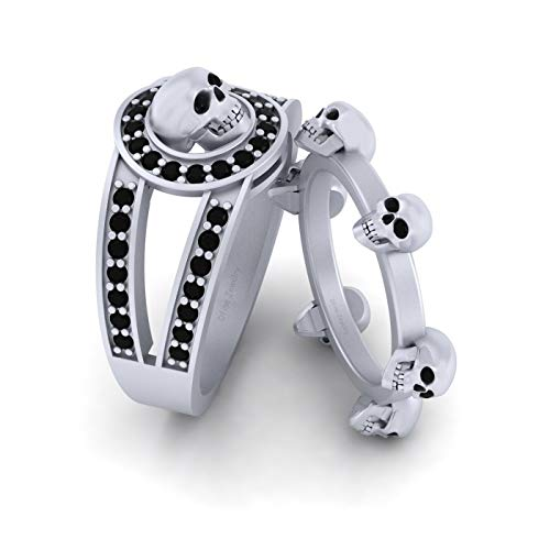 Juego de anillos de boda de oro blanco sólido de 14 quilates, diseño de calavera gótica de 0,45 quilates, diamantes de 0,45 quilates