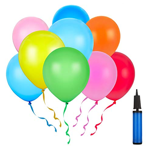 Latex Luftballons 150 Stück mit 1 Handpumpe Bunte Ballons Sortierte Farben für Geburtstag, Weihnachten, Hochzeit